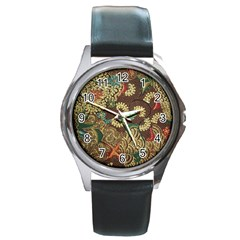 Colorful The Beautiful Of Art Indonesian Batik Pattern Round Metal Watch