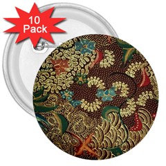 Colorful The Beautiful Of Art Indonesian Batik Pattern 3  Buttons (10 pack)