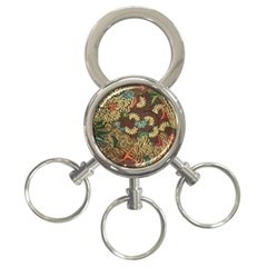 Colorful The Beautiful Of Art Indonesian Batik Pattern 3-Ring Key Chains