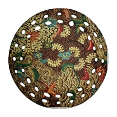 Colorful The Beautiful Of Art Indonesian Batik Pattern Round Filigree Ornament (Two Sides)