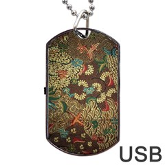 Colorful The Beautiful Of Art Indonesian Batik Pattern Dog Tag USB Flash (Two Sides)