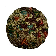 Colorful The Beautiful Of Art Indonesian Batik Pattern Standard 15  Premium Flano Round Cushions