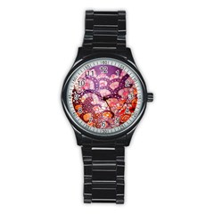 Colorful Art Traditional Batik Pattern Stainless Steel Round Watch