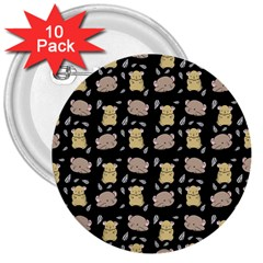 Cute Hamster Pattern Black Background 3  Buttons (10 pack)