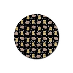 Cute Hamster Pattern Black Background Rubber Round Coaster (4 pack)