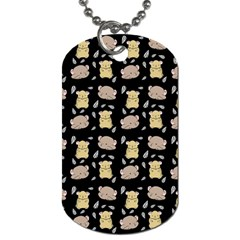 Cute Hamster Pattern Black Background Dog Tag (One Side)