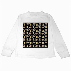 Cute Hamster Pattern Black Background Kids Long Sleeve T-Shirts