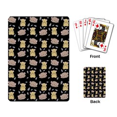 Cute Hamster Pattern Black Background Playing Card