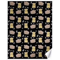Cute Hamster Pattern Black Background Canvas 18  x 24
