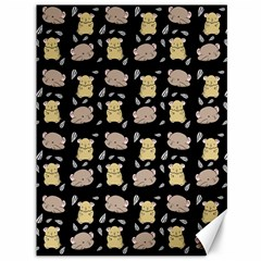 Cute Hamster Pattern Black Background Canvas 36  x 48
