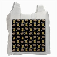 Cute Hamster Pattern Black Background Recycle Bag (Two Side)