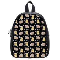 Cute Hamster Pattern Black Background School Bags (Small)