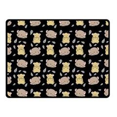 Cute Hamster Pattern Black Background Fleece Blanket (Small)