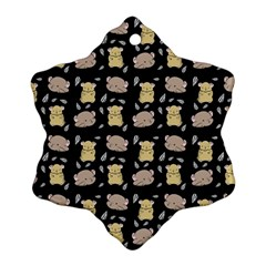 Cute Hamster Pattern Black Background Snowflake Ornament (Two Sides)
