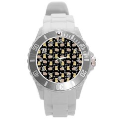 Cute Hamster Pattern Black Background Round Plastic Sport Watch (L)