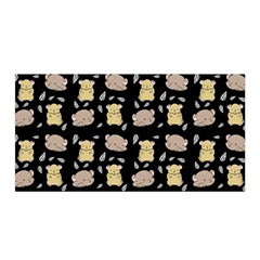 Cute Hamster Pattern Black Background Satin Wrap