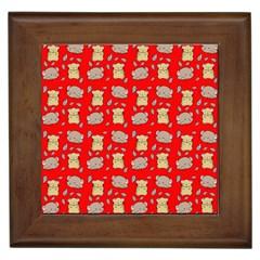 Cute Hamster Pattern Red Background Framed Tiles