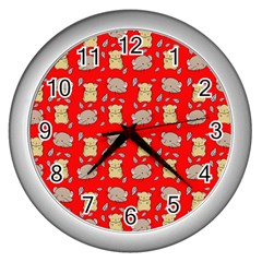 Cute Hamster Pattern Red Background Wall Clocks (Silver)