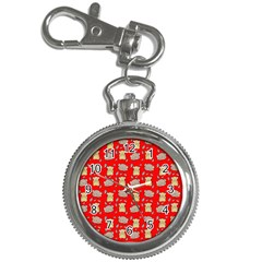 Cute Hamster Pattern Red Background Key Chain Watches