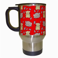 Cute Hamster Pattern Red Background Travel Mugs (White)