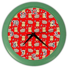 Cute Hamster Pattern Red Background Color Wall Clocks
