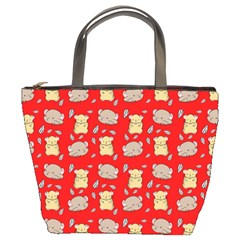 Cute Hamster Pattern Red Background Bucket Bags