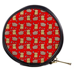 Cute Hamster Pattern Red Background Mini Makeup Bags