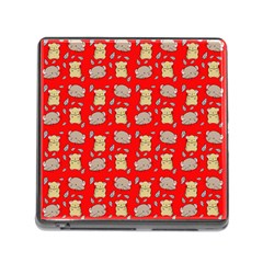 Cute Hamster Pattern Red Background Memory Card Reader (Square)