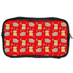 Cute Hamster Pattern Red Background Toiletries Bags