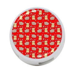 Cute Hamster Pattern Red Background 4-Port USB Hub (One Side)
