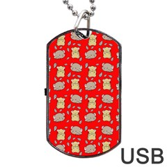 Cute Hamster Pattern Red Background Dog Tag USB Flash (One Side)