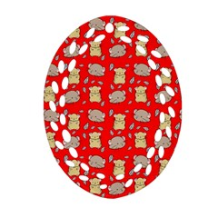 Cute Hamster Pattern Red Background Ornament (Oval Filigree)