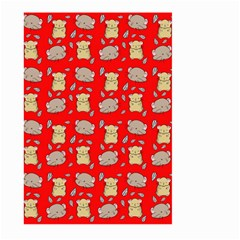 Cute Hamster Pattern Red Background Large Garden Flag (Two Sides)