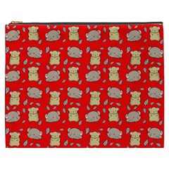 Cute Hamster Pattern Red Background Cosmetic Bag (XXXL)