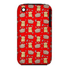 Cute Hamster Pattern Red Background iPhone 3S/3GS