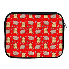 Cute Hamster Pattern Red Background Apple iPad 2/3/4 Zipper Cases