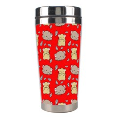 Cute Hamster Pattern Red Background Stainless Steel Travel Tumblers
