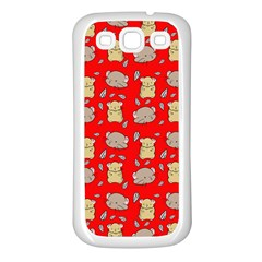 Cute Hamster Pattern Red Background Samsung Galaxy S3 Back Case (White)