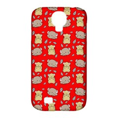 Cute Hamster Pattern Red Background Samsung Galaxy S4 Classic Hardshell Case (PC+Silicone)