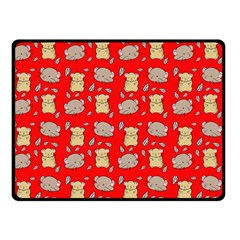 Cute Hamster Pattern Red Background Double Sided Fleece Blanket (Small)