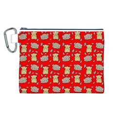 Cute Hamster Pattern Red Background Canvas Cosmetic Bag (L)