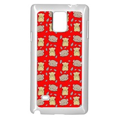 Cute Hamster Pattern Red Background Samsung Galaxy Note 4 Case (White)