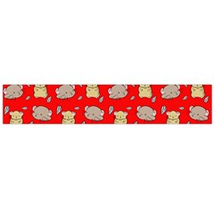 Cute Hamster Pattern Red Background Flano Scarf (Large)