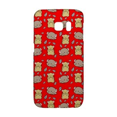 Cute Hamster Pattern Red Background Galaxy S6 Edge