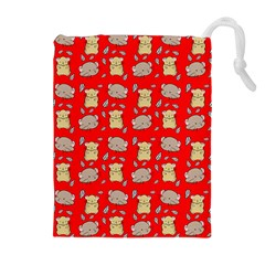 Cute Hamster Pattern Red Background Drawstring Pouches (Extra Large)