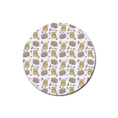 Cute Hamster Pattern Rubber Round Coaster (4 pack)
