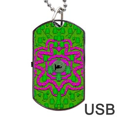 Vegetarian Art With Pasta And Fish Dog Tag Usb Flash (one Side)