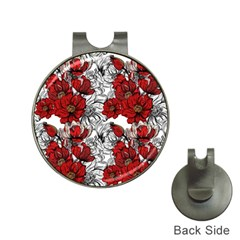 Hand Drawn Red Flowers Pattern Hat Clips With Golf Markers