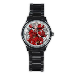 Red Flowers Pattern Stainless Steel Round Watch