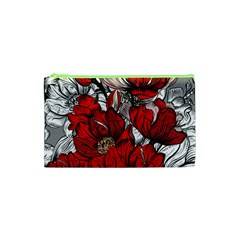 Red Flowers Pattern Cosmetic Bag (xs)